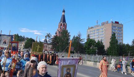 Учащиеся Воскресной школы при Вознесенском соборе приняли участие во встрече 22-го Волжского крестного хода